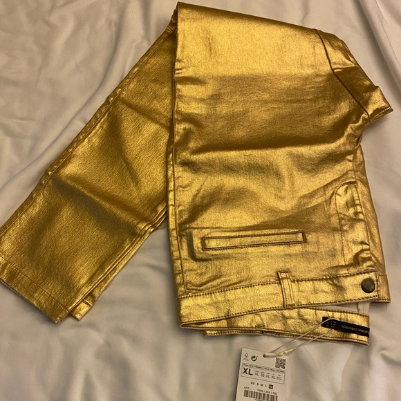 Zara gold pu jeans. Trafaluc collection new xl